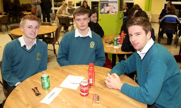 Chris Keane, Robbie Dinan and Rory O'Connor at the ISTA Kerry quiz at IT Tralee South Campus on Thursday night. Photo by Dermot Crean