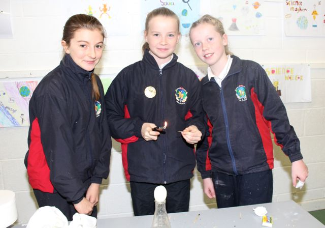 Niamh Ryan, Cara Gannon, Grace Reidy at the Scoil Eoin Science Day on Wednesday. Photo by Dermot Crean