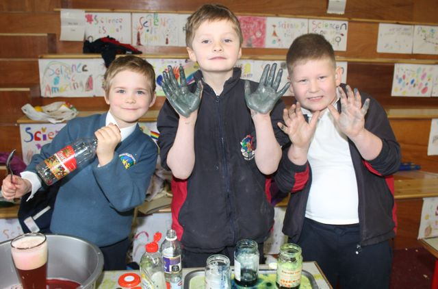 Tyberiusz Tryglewicz, Denis Griffin and Boris Stepien at the Scoil Eoin Science Day on Wednesday. Photo by Dermot Crean