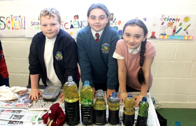 Owen McCrohan, Emily Murnel and Isabel O'Connor at the Scoil Eoin Science Day on Wednesday. Photo by Dermot Crean