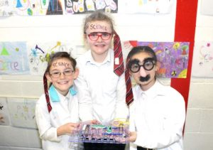 Jacinta Griffin, Sasha Stack and Ciara Frampton at the Scoil Eoin Science Day on Wednesday. Photo by Dermot Crean