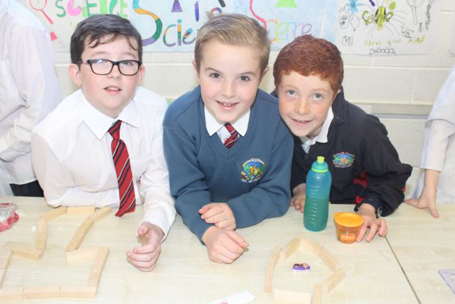 Stephen Connolly, Kevin O'Donoghue and Sean Heaslip at the Scoil Eoin Science Day on Wednesday. Photo by Dermot Crean