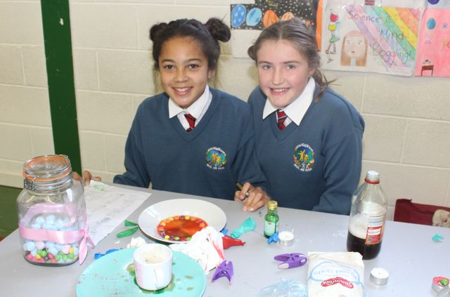 Rachel O'Donnell and Katie Kennedy at the Scoil Eoin Science Day on Wednesday. Photo by Dermot Crean