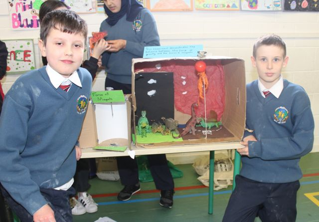 Kevin Clark and Dara McGrath at the Scoil Eoin Science Day on Wednesday. Photo by Dermot Crean