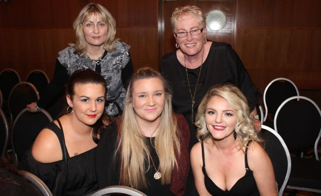 Fiona Murphy, Michelle Walsh and Sabrina Griffin with, at back, Noreen Walsh and Marie O'Connor at the St Brendan's Hurling Club 'Strictly Come Dancing' in the Ballyroe Heights Hotel on Saturday night. Photo by Dermot Crean