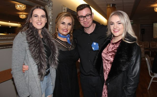 Keeva Ringland, Geraldine Parker, Donal O'Flaherty and Cath O'Halloran at the St Brendan's Hurling Club 'Strictly Come Dancing' in the Ballyroe Heights Hotel on Saturday night. Photo by Dermot Crean