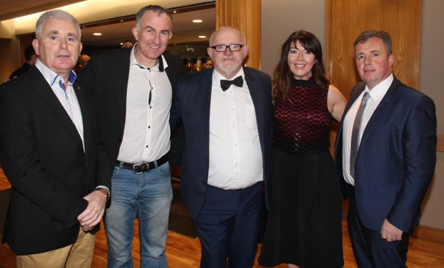 MC for the evening Murt Murphy with judges Mike O'Halloran, Stephen Wallace, Mary O'Donnell and Tim Moynihan at the St Brendan's Hurling Club 'Strictly Come Dancing' in the Ballyroe Heights Hotel on Saturday night. Photo by Dermot Crean