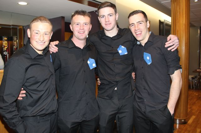 Dancers Danny Neenan, Kieran Fitzgerald, Liam Sullivan and Eoghan Courtney at the St Brendan's Hurling Club 'Strictly Come Dancing' in the Ballyroe Heights Hotel on Saturday night. Photo by Dermot Crean