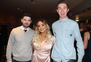 Michael Harmon, Keidine Lacey and Niall Meehan at the St Brendan's Hurling Club 'Strictly Come Dancing' in the Ballyroe Heights Hotel on Saturday night. Photo by Dermot Crean