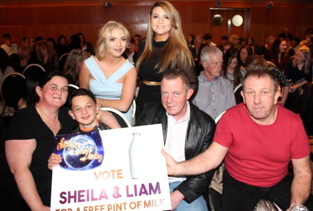 In front; Marian Long, Gavin Flaherty, Joseph Flaherty and Johnny Kelly with, at back, Amy Kelly and Katelyn Nolan at the St Brendan's Hurling Club 'Strictly Come Dancing' in the Ballyroe Heights Hotel on Saturday night. Photo by Dermot Crean