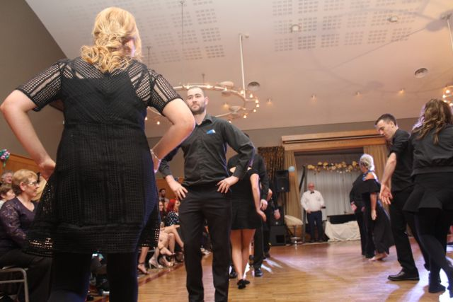 Dancers participating in the opening dance of the St Brendan's Hurling Club 'Strictly Come Dancing' in the Ballyroe Heights Hotel on Saturday night. Photo by Dermot Crean