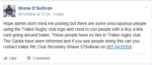 Shane O'Sullivan post on Facebook group Tralee Do You Know.