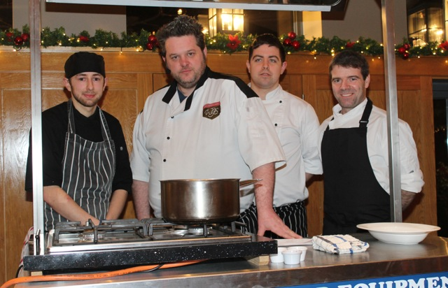The chefs on the night James McCarthy, Noel Keane, Paul Cotter and Kevin O'Connor at the Cookery Demonstration for Ardfert NS in Ballyroe Heights Hotel on Thursday night. Photo by Dermot Crean
