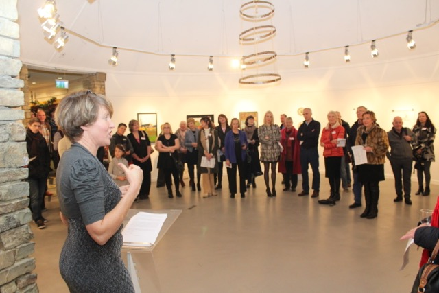 Lisa Singleton speaking at the Tralee Art Group exhibition opening on Saturday evening. Photo by Dermot Crean