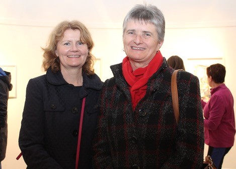 Brid Prendiville and Maria O'Neill at the Tralee Art Group exhibition opening on Saturday evening. Photo by Dermot Crean