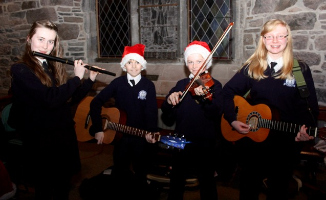 Katie Moriarty, Daniel Sheehy, Sean Crowley and Sorcha O'Donoghue at the St Brendan's NS Blennerville Christmas Concert on Tuesday night. Photo by Dermot Crean