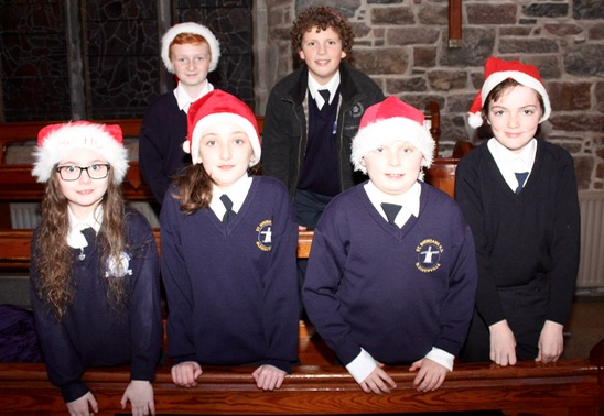 In front; Shauna McElligott, Lily O'Sullivan, Fionn O'Brien and Paddy Moran. At back; Callum Houston and Liam O'Sullivan at the St Brendan's NS Blennerville Christmas Concert on Tuesday night. Photo by Dermot Crean