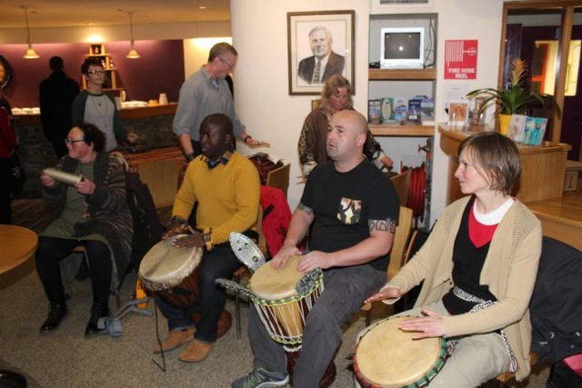 African drumming at the launch of 'Behind The Face' at Siamsa Tire on Friday night. Photo by Dermot Crean