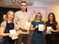Ultan Dillane with Mary Carroll, SInead Kelleher and Susan McElligott, the authors of 'Behind The Face' at the launch of the book at Siamsa Tire on Friday night. Photo by Dermot Crean