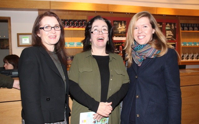 Michelle Murphy, Catriona Fallon and Susan Leen at the launch of 'Behind The Face' at Siamsa Tire on Friday night. Photo by Dermot Crean