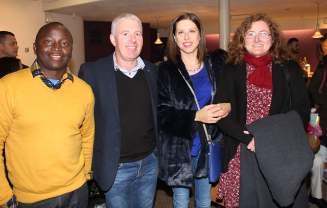 Samuel Kiwanuka, Michael Cotter, Gallina Cotter and Barbara Larkin at the launch of 'Behind The Face' at Siamsa Tire on Friday night. Photo by Dermot Crean