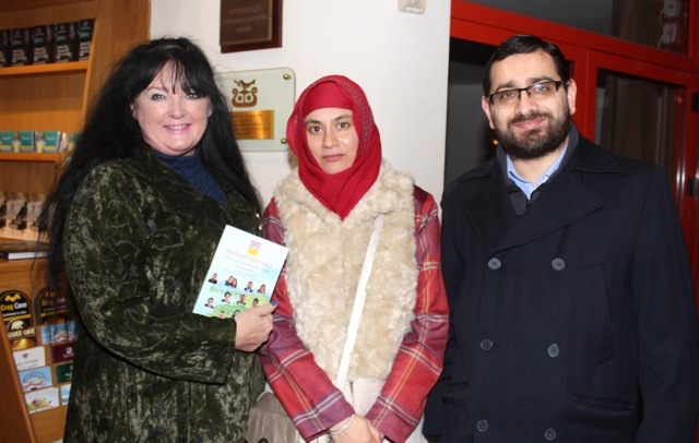 Caroline Toal, Mahrukh Alam and Dr Rizan Khan at the launch of 'Behind The Face' at Siamsa Tire on Friday night. Photo by Dermot Crean