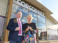 Kieran Corcoran and Majella Kelly of Corcoran's Furniture and Carpets at the opening of the superstore in Manor Park on Tuesday. Photo by Dermot Crean