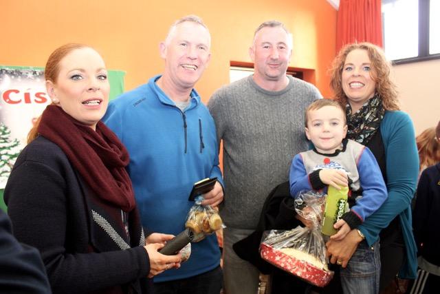 Siobhan Lacey, Liam Ó Conchubhair, Cyril Wallace, Catherine Leane and Gearóid Lacey at the Gaelscoil Mhic Easmainn Christmas Fair on Sunday. Photo by Dermot Crean