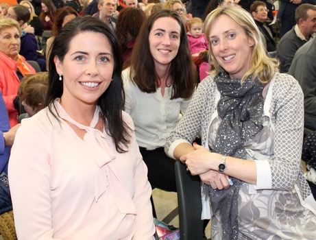 Claire Fitzmaurice, Mary Barrett and Sinead Gibbons at the Gaelscoil Mhic Easmainn Christmas Fair on Sunday. Photo by Dermot Crean