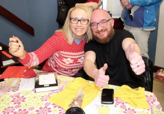 Helen Coffey and Kerry Leane at the Gaelscoil Mhic Easmainn Christmas Fair on Sunday. Photo by Dermot Crean