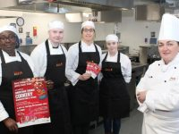 Professional Cookery teacher at KCFE, Kay Lanigan Ryan (right) with her students, Carolyn Okoro, Jordan Murphy, Niamh Daly and Geraldine Lacey, looking forward to the Christmas Cookery Demonstration next Thursday. Photo by Dermot Crean