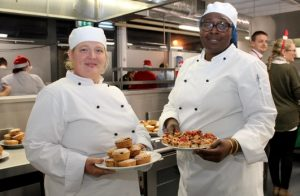 Irene Cremin and Carolyn Okoro at the Kerry College of Further Education Christmas Cookery Demonstration on Thursday night. Photo by Dermot Crean