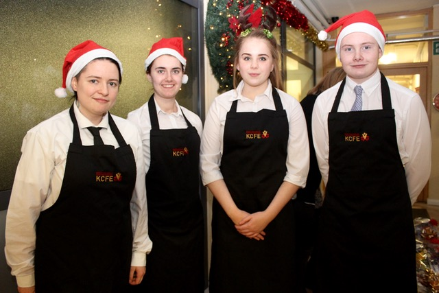Grace O'Mahony, Sinead McCourt, Nicole Sugrue and Jordan Murphy at the Kerry College of Further Education Christmas Cookery Demonstration on Thursday night. Photo by Dermot Crean