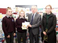 Melanie Smith of Coláiste Gleann Lí receiving her runner-up prize from Colm McEvoy of Kerry ETB. Also included is student Snjezana Herbsts and Assistant Principal of Coláiste Gleann Lí, Maryanne Lowney. Photo by Dermot Crean