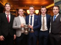 Kerry Juniors John C O'Connor (Kerins O'Rahillys), Laurence Bastible (John Mitchels), Kieran Hurley (St Pats), Michael O'Donnell (Austin Stacks) and Andrew Barry (Na Gaeil) at The Rose Hotel on Saturday night. Photo by Dermot Crean