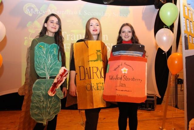 Iona O'Neill, Clodagh Gaynor and Ellen Gercik at the Mercy Mounthawk Fashion Show on Thursday night. Photo by Dermot Crean
