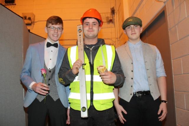 Ciaran Coggins, Liam Moloney and Oisin Liston at the Mercy Mounthawk Fashion Show on Thursday night. Photo by Dermot Crean