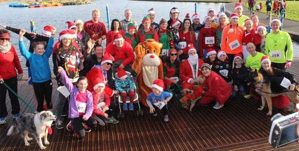 A group of runners at the Santa 5k Fun Run on Sunday morning. Photo by Dermot Crean