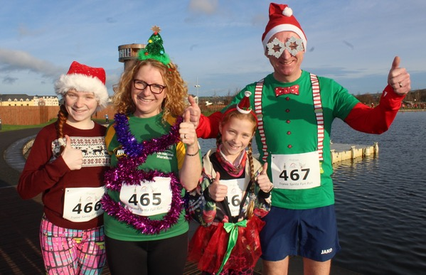 Eavan, Jennifer, Danielle and Ed Shanahan at the Santa 5k Fun Run on Sunday morning. Photo by Dermot Crean