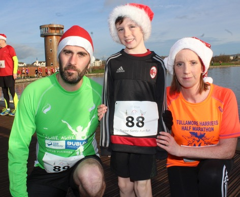 Don, Cillian and Catherine Hannon  at the Santa 5k Fun Run on Sunday morning. Photo by Dermot Crean