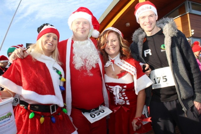 Marilyn O'Shea, Danny O'Shea, Cilla Beer and Tom Foley at the Santa 5k Fun Run on Sunday morning. Photo by Dermot Crean