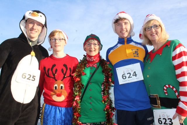 Gary Horan, Sean Horan, Eileen Scanlon, Vinny Horan and Trish Horan at the Santa 5k Fun Run on Sunday morning. Photo by Dermot Crean