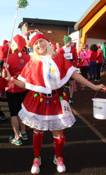 Marilyn O'Shea at the Santa 5k Fun Run on Sunday morning. Photo by Dermot Crean