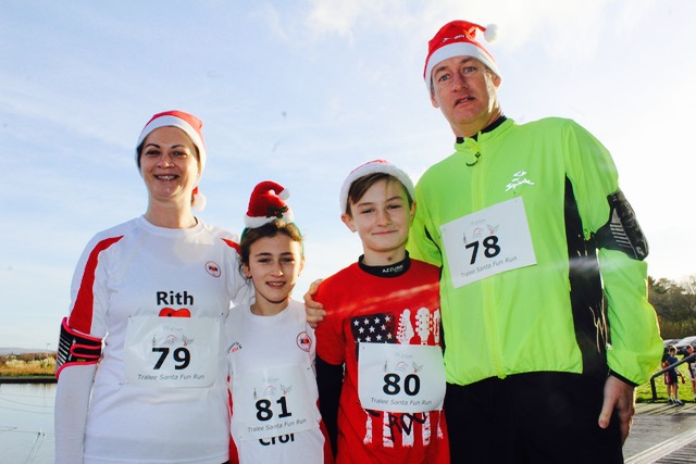 Margaret, Lauren, Declan and Cormac Molyneaux at the Santa 5k Fun Run on Sunday morning. Photo by Dermot Crean