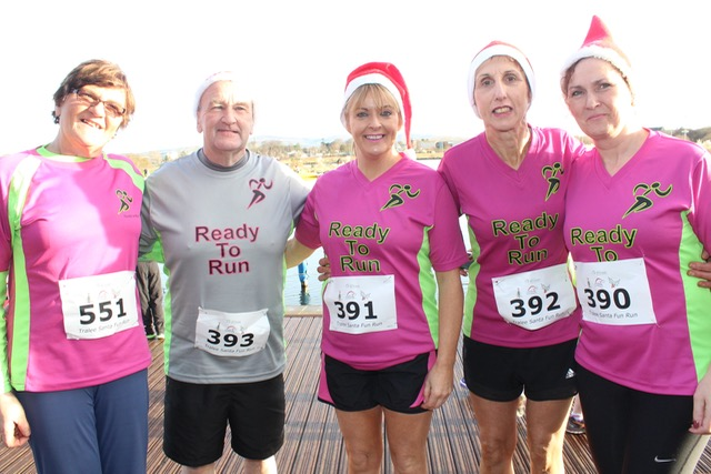 Joan Glover, George Glover, Eileen Brennan, Anne O'Leary, Marie Hickey at the Santa 5k Fun Run on Sunday morning. Photo by Dermot Crean