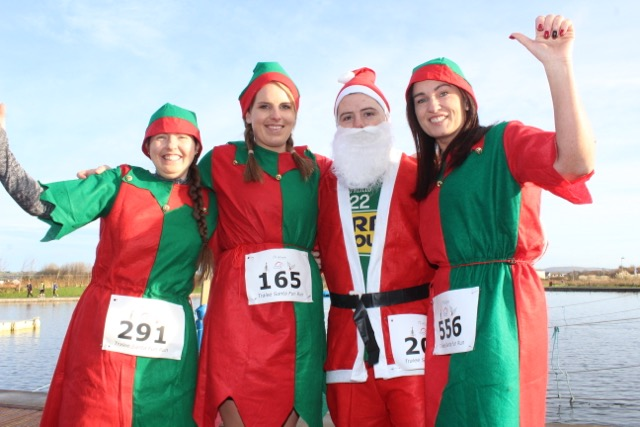 Audrey Rigney, Julie Deenihan, Damien Kissane and Sandra O'Riordan at the Santa 5k Fun Run on Sunday morning. Photo by Dermot Crean