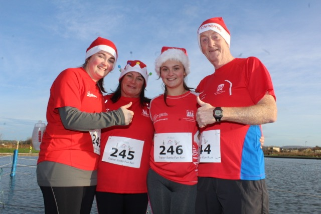 Nicola, Kathy, Niamh and Gerard O'Connell at the Santa 5k Fun Run on Sunday morning. Photo by Dermot Crean