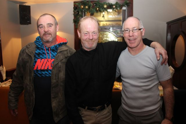 Andrew Doyle, Jimmy Donnelly and Noel Kelliher from Tralee Boxing Club at Benners Hotel on Saturday night. Photo by Dermot Crean