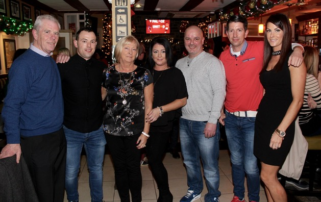 Susan Flaherty (centre) celebrating her birthday with, from left; Tim Flaherty, Timmy Flaherty, Breda Flaherty, Robert McEvoy, Jason and Yvonne Moriarty at Kirby's Brogue Inn on Saturday night. Photo by Dermot Crean