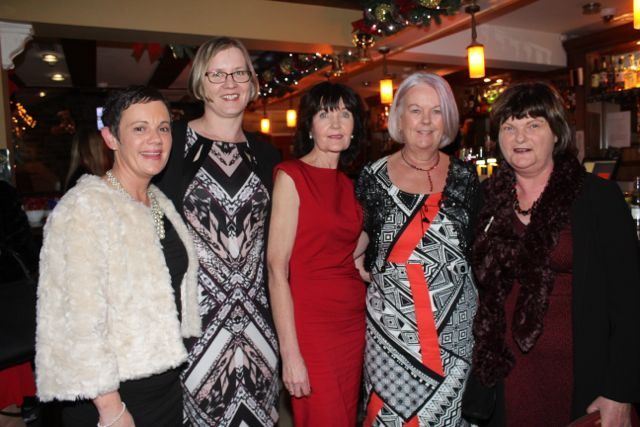 Michelle Foley, Fionnuala Hamilton, Angela O'Connor, Margaret Moore and Kathleen O'Mahony of the HSE at Kirby's Brogue Inn on Saturday night. Photo by Dermot Crean